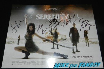 serenity signed autograph mini poster sean maher adam baldwin Joss Whedon signing autographs aero theater much ado about nothi 007