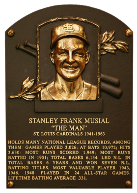 stan the Musial Plaque hall of fame baseball rare