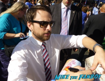 Charlie Day Signing autographs for fans Monsters university premiere marquee sign rare billy crystal