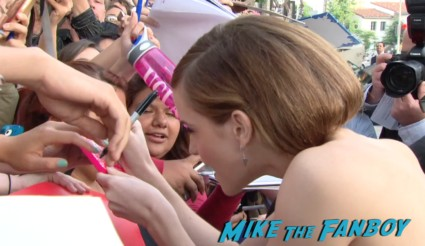 sexy emma watson signing autographs for fans This Is The End Movie Premiere red carpet