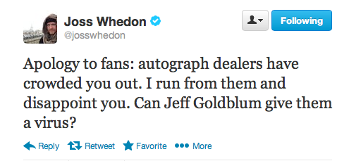 Joss Whedon tweet saying he hates autograph dealers