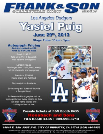 Yasiel Puig los angeles dodgers baseball player rare headshot autograph signing