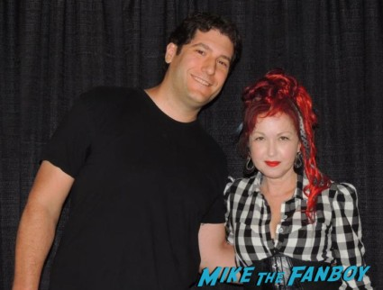 cyndi lauper and mike the fanboy signing autographs for fans meet and greet 2013
