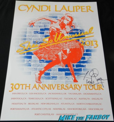cyndi lauper signed she's so unusual tour poster greek theater live in concert 2013 she's so unusual 238