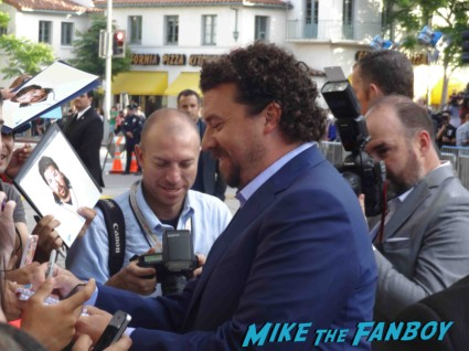 danny mcbride signing autographs for fans at the this is the end movie premiere