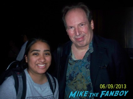 Hans Zimmer signing autographs at the man of steel movie premiere