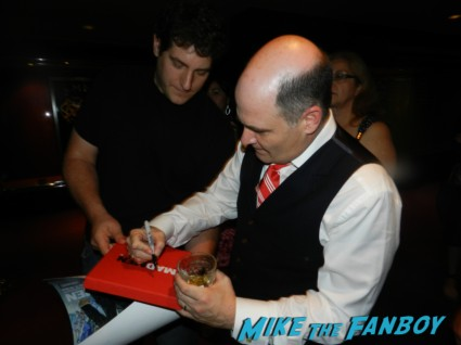 Matthew Weiner signing autographs for fans mad men q and a emmy party 012
