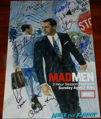 mad men season 6 mini poster signed autograph by the cast jon hamm elisabeth moss christina hendricks mad men q and a emmy party 024