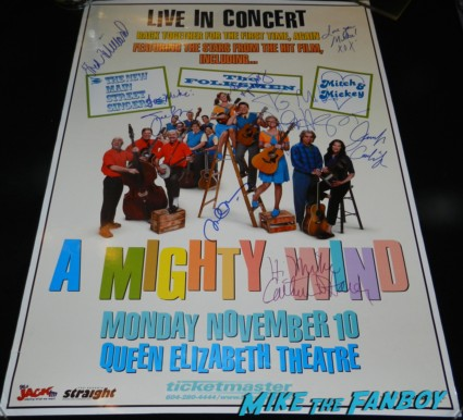 a mighty wind original concert poster signed by jane lynch fred willard jennifer coolidge michael mckean signing autographs for fans spinal tap 010