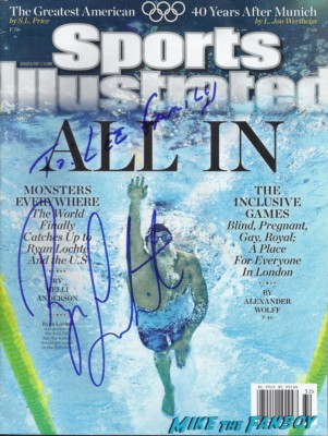 Ryan Lochte signed autograph sports illustrated magazine hot sexy cover photo