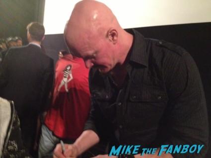 Derek Mears signing autographs danielle harris signed autograph halloween 4 poster Danielle Harris