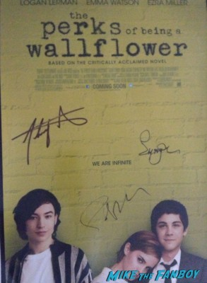 emma watson paul rudd signed autograph perks of a wallflower mini poster Martin Starr signing autographs  at the this is the end movie premiere in westwood Emma sees Red Bull