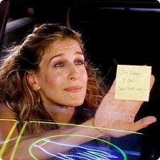 sexy and the city carrie bradshaw post it note break up I'm sorry please don't hate me