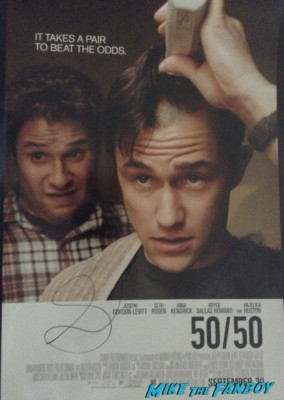 seth rogan signed autograph 50/50 mini movie poster