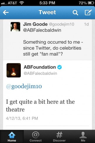 Alec baldwin tweeting about fanmail signing autographs