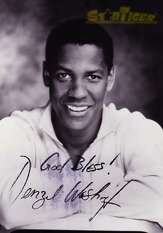 Denzel washington stamped autograph card