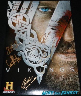 vikings cast signed autograph poster travis fimmel katherine Wynnick vikings cast q and a television academy 034