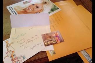 Crystal Hefner signing autographs for fans hot fanmail