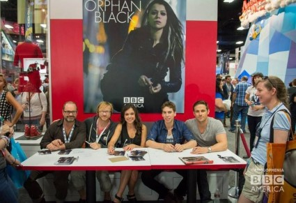 Orphan Black cast signing at the bbc booth autograph signed sig sdcc 2013 bbc america booth