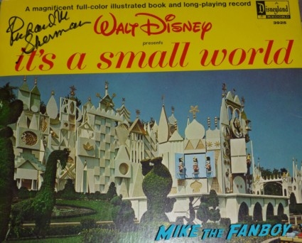 Richard M. Sherman signed it's a small world lp Disney legend Richard M. Sherman signing autographs for fans rare