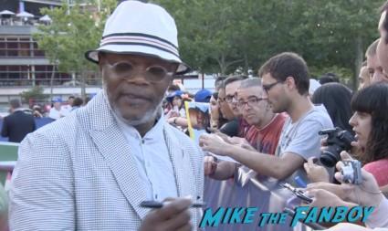 Samuel L. Jackson signing autographs for fans Turbo Barcelona Premiere red carpet snoop dog signing autographs