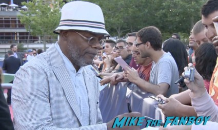 Samuel L. Jackson signing autographs for fans Turbo Barcelona Premiere red carpet snoop dog signing autographs