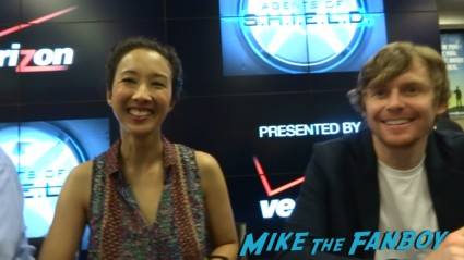 Maurissa Tancharoen and Jed Whedon signing autographs at Marvel's Agents of S.H.I.E.L.D. Autograph Signing at SDCC comic con rare joss whedon clark gregg