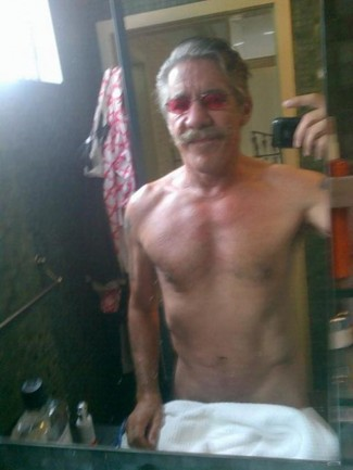 geraldo rivera shirtless naked photo with purple sunglasses rare