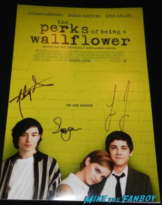 Perks of being a wallflower signed autograph mini poster logan lehrman johnny simmons emma watson logan lerman jonny simmons signed autograph OUT Magazine Cover signing autographs for fans jimmy kimmel live 035