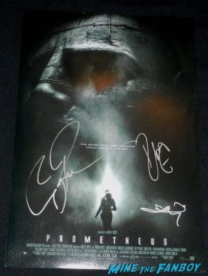 Prometheus mini movie poster signed autograph idris elba guy pierce logan marshall green