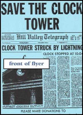 clock tower flyer signed by Claudia Wells