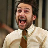 Charlie Day headshot rare promo smirk rare  rubenstein-charlie-kelli
