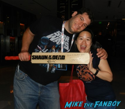 mike the fanboy with erica and the signed autograph shaun of the dead cricket bat rare san diego comic con 2013 signing autographs day 1 102