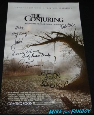 the conjuring cast signed autograph mini movie poster rare david wain premiere lili taylor signing autographs vera farmi 053