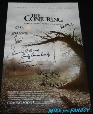 the conjuring cast signed autograph mini movie poster rare david wain premiere lili taylor signing autographs vera farmi 053