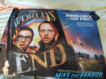 nick frost edgar wright simon pegg signed autograph the world's end uk quad poster The world's End HMV Autograph signing Simon Pegg Nick Frost Edgar Wright signing autographs rare promo