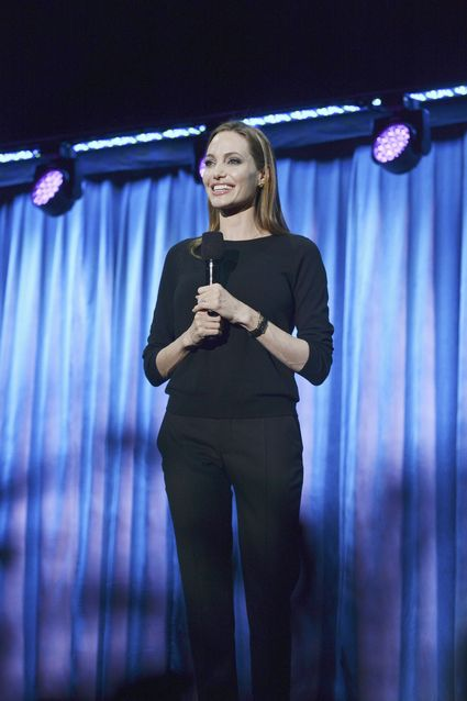 "ANGELINA JOLIE ANGELINA JOLIE D23 EXPO - LET THE ADVENTURES BEGIN: LIVE ACTION AT THE WALT DISNEY STUDIOS - Anaheim, California (August 10, 2013) - The Walt Disney Studios showcases the Studios' exciting live-action release slate, including Disney's ""Saving Mr. Banks"" and ""Tomorrowland,"" ""Marvel's Thor: The Dark World,"" and much more. (D23 EXPO/Todd Wawrychuk) ANGELINA JOLIE"