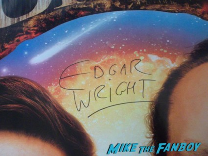 Edgar Wright signed autograph the world's end uk quad poster The world's End HMV Autograph signing Simon Pegg Nick Frost Edgar Wright signing autographs rare promo