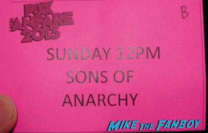 sons of anarchy autograph signing ticket 2013 sdcc