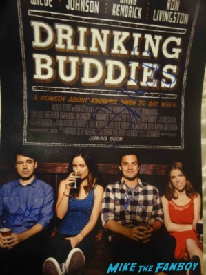 Drinking Buddies signed autograph mini poster one sheet jake johnson olivia wilde ron livingston Olivia Wilde fan photo signing autographs for fans rare promo drinking buddies movie premiere