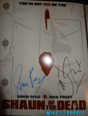 shaun of the dead signed autograph movie poster promo rare simon pegg nick frost