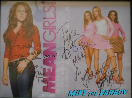 Cast signed autograph mean girls mini movie poster rare amy poehler tina fey lindsey lohan