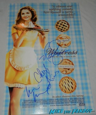 Keri Russell signed autograph waitress mini movie poster nathan fillion cheryl hines