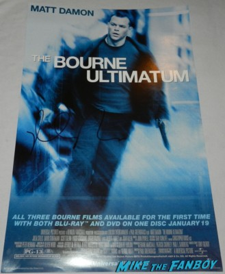 matt damon signed autograph The Bourne Identity mini movie poster