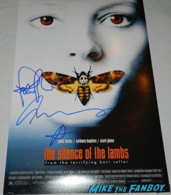 Jodie Foster and Anthony hopkins signed autograph silence of the lambs mini poster one sheet rare