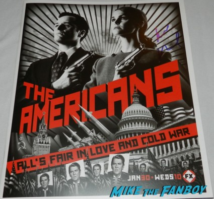 The americans mini poster signed by Keri russell signing autographs