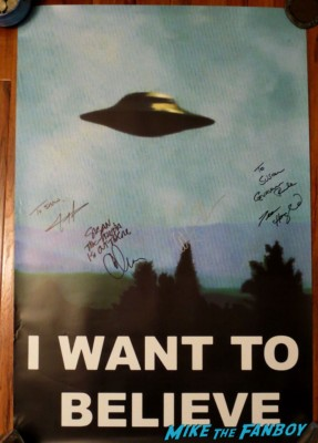 chris carter Gillian Anderson signed autograph x-files rare promo poster I want to believe
