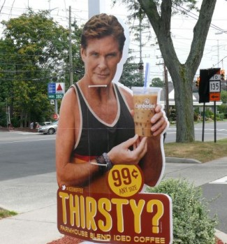 Hasselhoff_sign stolen iced coffee sign rare