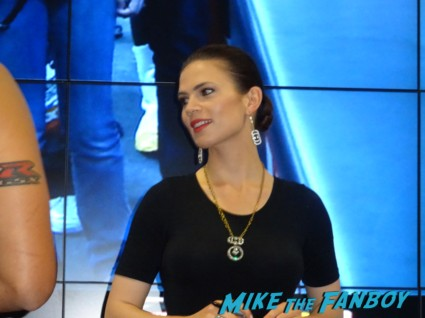 Hayley Atwell Louis D'Esposito signing autographs for fans at the agent carter autograph signing sdcc marvel booth