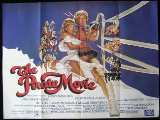the PIRATE MOVIE QUAD movie poster promo christopher atkins shirtless hot sexy The Pirate Movie dvd cover rare The Pirate movie rare lobby card with christopher atkins and kristy mcnicol